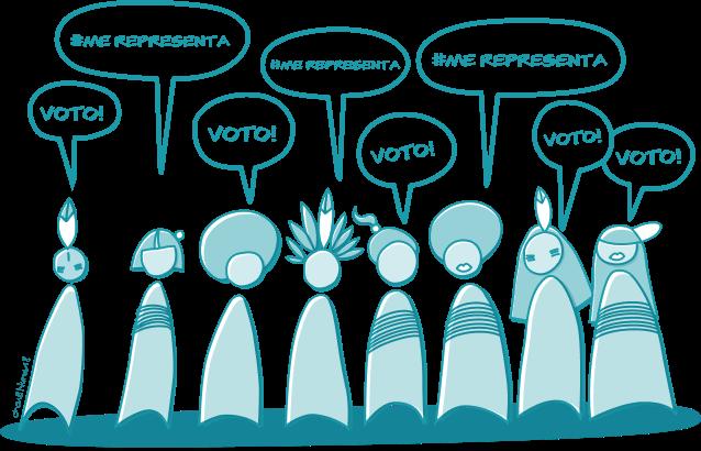 Ilustração com voluntárias